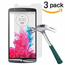 LG G3 Screen Protector,TANTEK [Bubble-Free][HD-Clear][Anti-Scratch][Anti-Glare][Anti-Fingerprint] Premium Tempered Glass Screen Protector for LG G3,[Lifetime Warranty]-[3Pack]