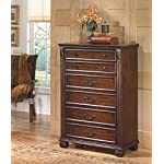 Ashley Furniture Signature Design - Leahlyn Chest of Drawers - 5 Drawer - Traditional Style Dresser - Warm Brown