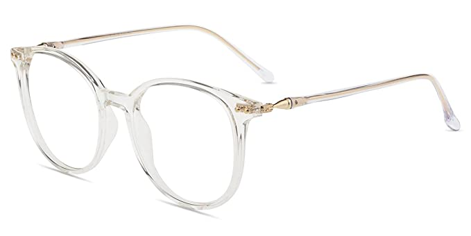 21682b8fb Amazon.com: Firmoo - Blue Light Blocking, Anti-Reflective,UV Coating 100%  Computer Round Vintage Optical Eyewear Glasses (Non-prescription, Clear  Frame): ...