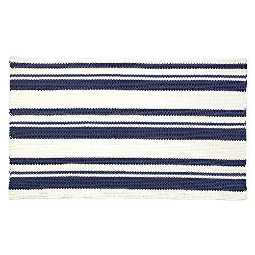 InterDesign Ellis Hand Knit Accent Rug for Bathroom, Kitchen, Bedroom - Navy/Ivory