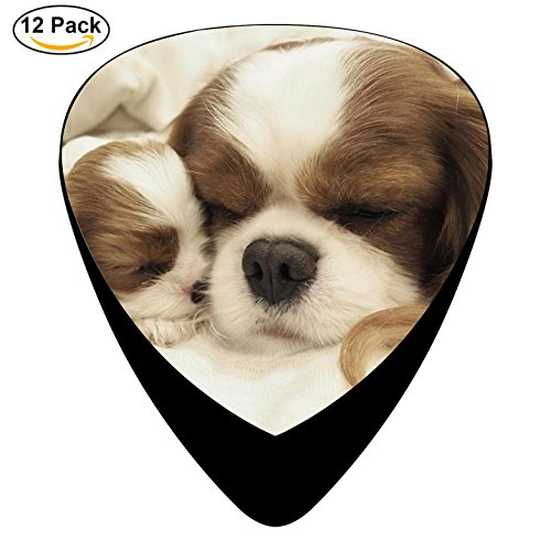 Sleeping Dog Celluloid Guitar Picks 12 Pack Includes Thin,Medium,Heavy Gauges For Electric Acoustic Guitar