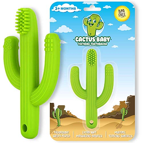 Cactus Baby Teething Toys for Newborn Infants and Toddlers – Self-Soothing Pain Relief Soft Silicone Teether and Training Toothbrush for Babies, BPA Free, Soothes Babies Sore Gums