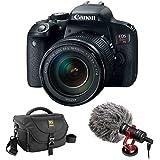 Canon EOS Rebel T7i DSLR Camera with 18-135mm Lens plus Boya BY-MM1 Shotgun Video Microphone and Journey 34 DSLR Shoulder Bag (Black)