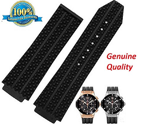 26mm x 19mm Black Strap to Fit Hublot Big Bang Tier Men's Watch Band Replacement Strap