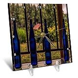 3dRose Roni Chastain Photography - Blue Bottles - 6x6 Desk Clock (dc_295642_1)