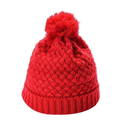LIULIULIUWomen Men Solid Color Beanie Knited Ball Headgear Tail Hat Cap (Red) -