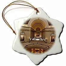 Danita Delimont - Walter Bibikow - Buildings - USA, Oklahoma, Oklahoma City, Oklahoma State Capitol Building interior - Ornaments - 3 inch Snowflake Porcelain Ornament (orn_192122_1)