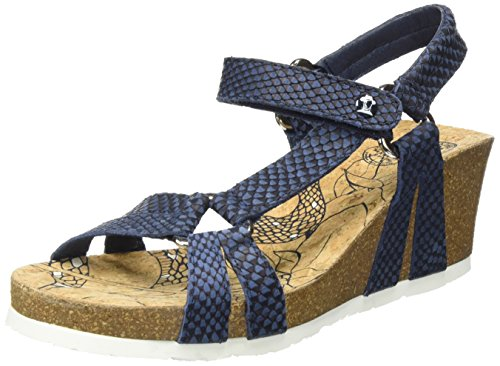 Panama Jack Violetta Snake, Sandalias con Cuña para Mujer Azul (Navy)