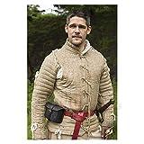 Medieval Gambeson Thick Padded Coat Aketon Jacket Armor, Camel Cotton Fabrics Dress SCA - Medium