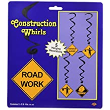Beistle 57571 5-Pack Construction Whirls, 3-Feet 4-Inch