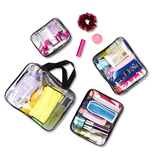 Clear Makeup Bags, Travel Bag/ Travel Toiletry Bag Kit 4 Pack Travel Toiletry Cosmetic Bag Portable Waterproof PVC Organizer Case for Men & Women(4 pack, 3 size) by ANJOSE (Image #4)