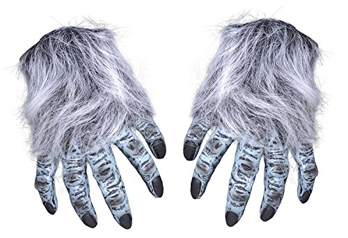 Yeti Costume Gloves (Grey Hairy Adult's Monster Hands)