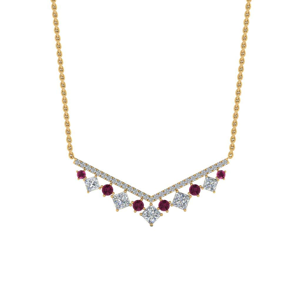 Dividiamonds 0.71 Ct Princess Cut Pink /& Sim Diamond 14K Gold Plated 925 V Necklace Pendant W//18 Chain