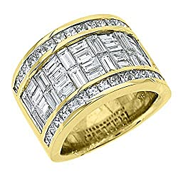 18k Yellow Gold Men's Invisible Set Princess & Baguette 6.29 Carats Diamond Ring