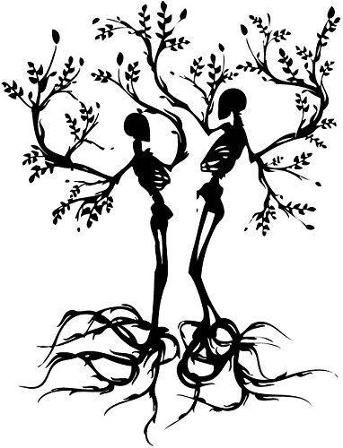 YINGKAI Personality Couple Skull Love Trees Living Room Vinyl Carving Wall Decal Sticker For Halloween Party Home Decoration]()