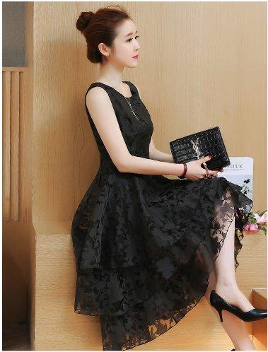 『ヴォーグ』VOGUE (0068) ブラック ウエディング 二次会 卒業式 入学式ドレス 清楚系 ひざ丈 ドレス 黒 M