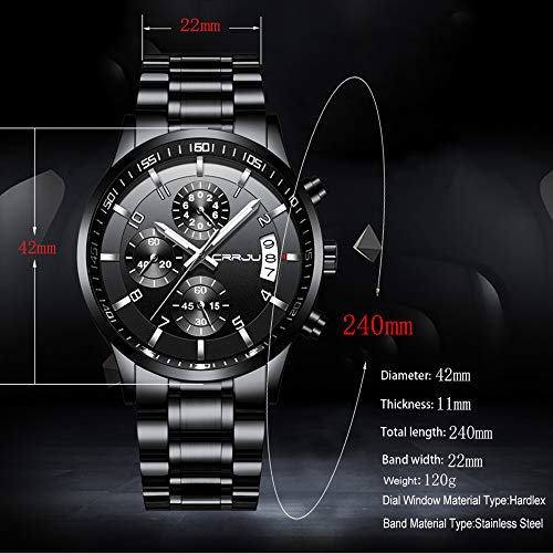 CRRJU Men\'s Watch Six-pin Multifunctional Chronograph Wristwatches,Stainsteel Steel Band Waterproof Watch for Men Black dial