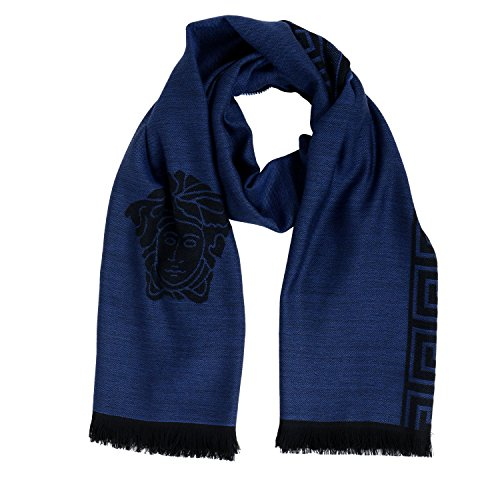 Versace Blue 100% Wool Logo Print Shawl Scarf by Versace