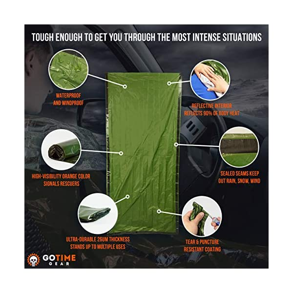 Go-Time-Gear-Life-Bivy-Emergency-Sleeping-Bag-Thermal-Bivvy-Use-as-Emergency-Bivy-Sack-Survival-Sleeping-Bag-Mylar-Emergency-Blanket-Includes-Stuff-Sack-with-Survival-Whistle-Paracord-String-2