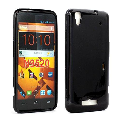 Max N9521 N9520 Rubber Plaid Argyle Slim Thin Glossy Clear Transparent Grip Soft TPU Gel Protective Case Cover for ZTE Boost Max N9521 N9520, Black ()