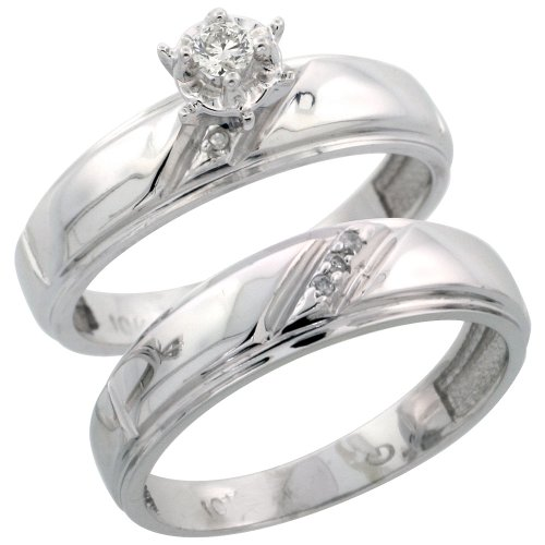 Sterling Silver 2-Piece Diamond Engagement Ring Set, w/ 0.06 Carat Brilliant Cut Diamonds, 7/32 in. (5.5mm) wide, Size 8 by Silver City Jewelry