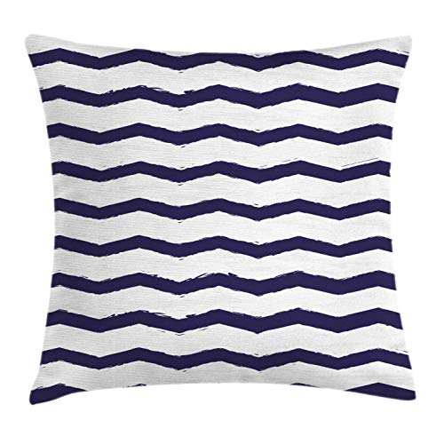 Sea Cottage (Ambesonne Navy Throw Pillow Cushion Cover, Chevron Twisty Pattern in Nautical Style Tones Ocean Sea Life Cottage House Design, Decorative Square Accent Pillow Case, 24 X 24 Inches, Indigo White)
