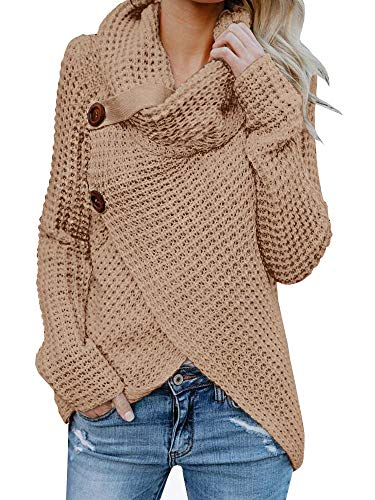 Sweater Neck Cowl Knit (Inorin Womens Sweaters Casual Cowl Neck Chunky Cable Knit Wrap Pullover Sweater)