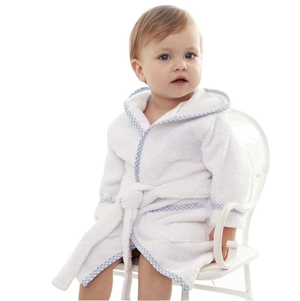 Kelaixiang Kids Soft Plush Long-Sleeved Bathrobe Hooded Front Pockets