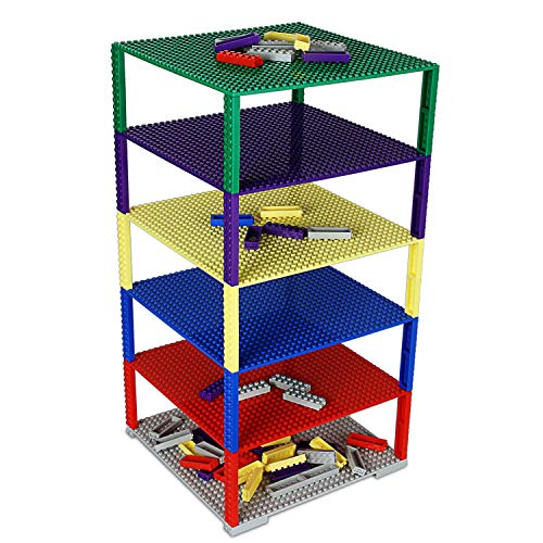 """Upgraded Stackable Baseplate Set for Building Bricks including 6 Baseplate in Size 10""""x10"""" & 50 Stackers, Compatible with All Major Brands, Thick & Sturdy, Ideal surface for construction & display"""
