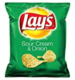 Lay's Sour Cream & Onion Flavored Potato Chips, 1 Ounce (Pack of 104)