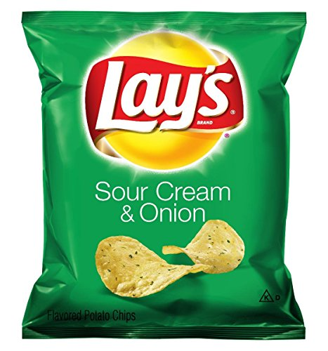 Lay's Sour Cream & Onion Flavored Potato Chips, 1 Ounce (Pack of 104) (Chips Sour Cream)
