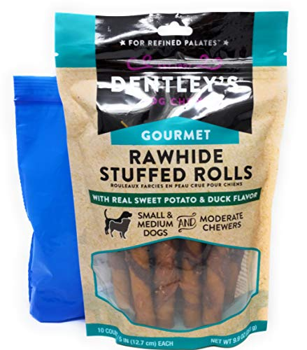 - Dentley's Rawhide Stuffed Rolls Dog Treats (Sweet Potato & Duck, 10 Count Bag) and Tesadorz Resealable Bags