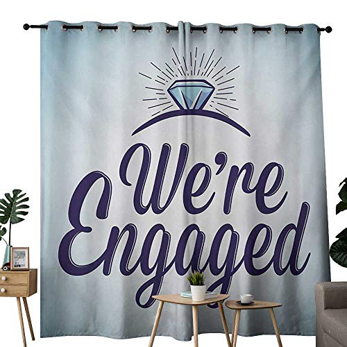 NUOMANAN Bedroom Curtains Engagement Party,We are Engaged Announcement Quote Wedding Ring Celebration,Sky Blue and Navy Blue,Thermal Insulated Room Darkening Window Shade 84