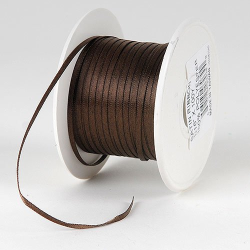 BBCrafts Chocolate Brown Satin Ribbon 1/8 inch 100 Yards