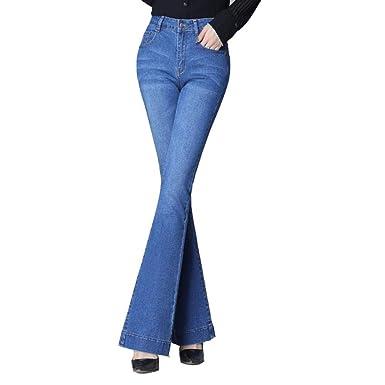 Estiramiento de Mezclilla Azul para Mujer Bordado Ancho Pantalones ...