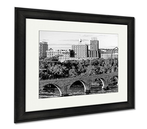 Ashley Framed Prints Minneapolis Mn River And Bridge Near Downtown, Modern Room Accent Piece, Black/White, 34x40 (frame size), Black Frame, - Mn Minneapolis Downtown