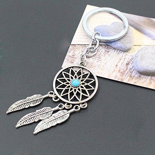 Huertuer Fashion Gemstone Palm Leaf Pendant Keyring Tassel Keychain for Women Blue