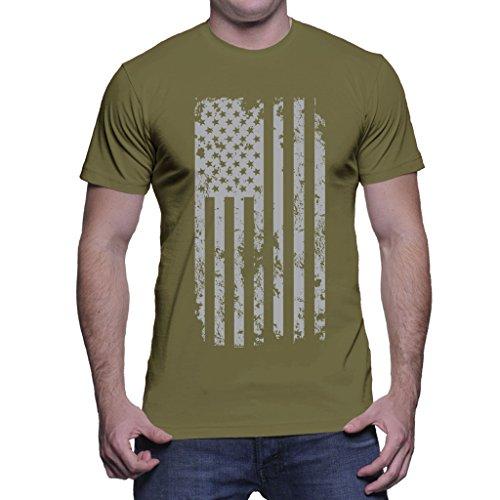 Mens Silver American Flag T-shirt (XL, Olive - Shirts Flag Us
