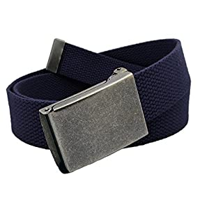 Boys School Uniform Distressed Silver Flip Top Military Belt Buckle with Canvas Web Belt Small Navy Blue