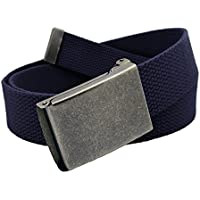 Boy's Easy Snap Distressed Silver Military Style Buckle with Adjustable Canvas Belt for School Uniforms