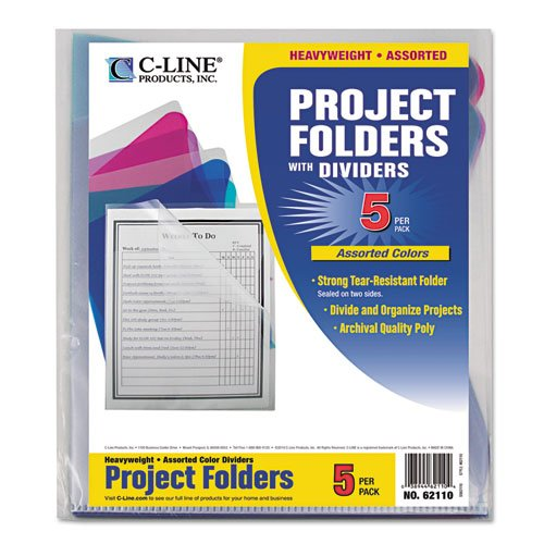 C-Line – Project Folders with Dividers, Letter, 1/3 Tab, Clear/Colored, 5/PK 62110 (DMi PK