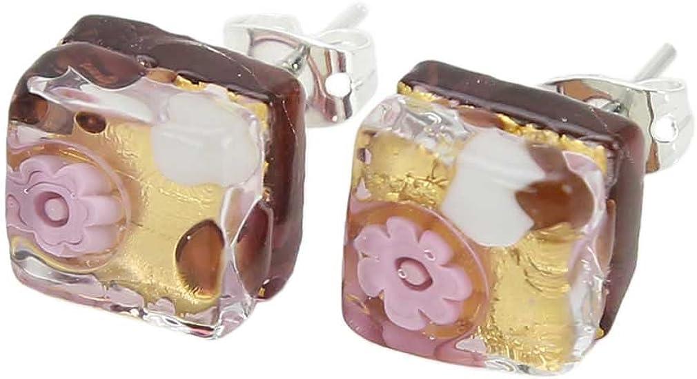 GlassOfVenice Pendientes cuadrados de cristal veneciano de Murano - oro morado