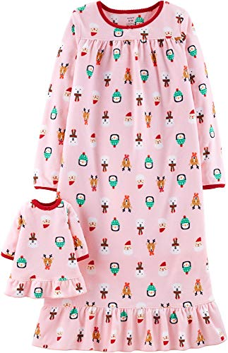 Toddler Christmas Nightgown (Carter's Girls Microfleece Nightgown and Doll Gown (4T, Pink)