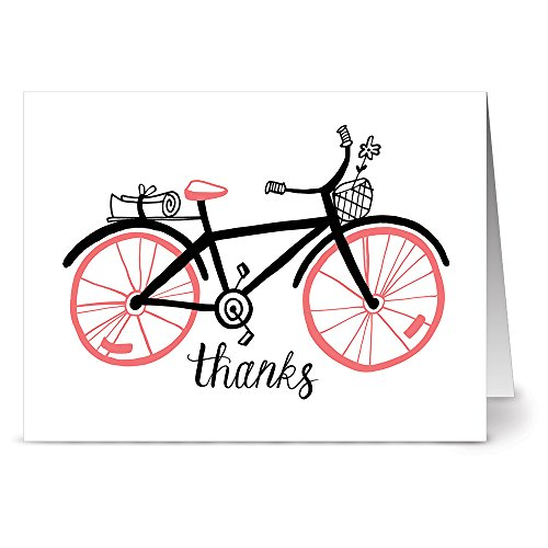 24-note-cards-coral-bicycle-thanks-blank-cards-gray-envelopes-included