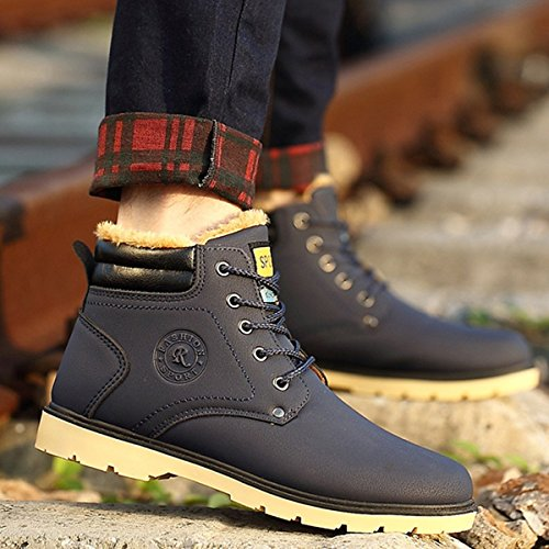 Amazon.com: Camfosy Casual Warm Snow Boots Leather Fur Lining Winter Work Boots Outdoor Lace up Walking Boots for Men: Clothing