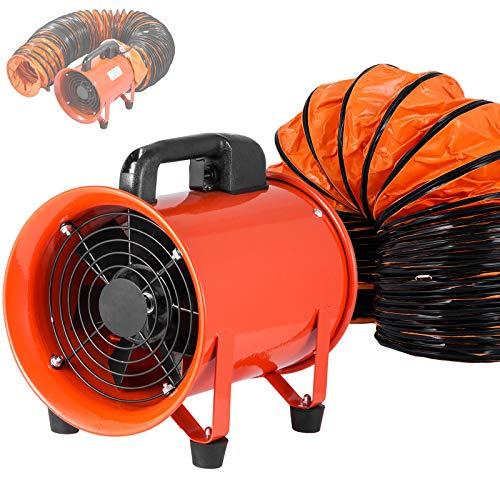 OrangeA Utility Blower 8 Inch 3300 RPM Portable Ventilator High Velocity Utility Blower Fan Exhaust Axial Hose Fan with 10M Vinyl Hose (8 Inch 10M) ()