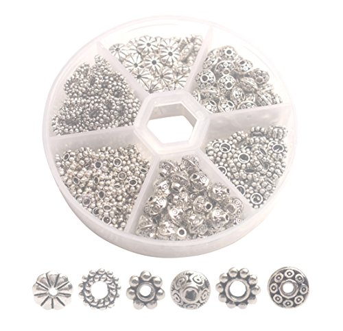 ChangJin ONE BOX of 300PCS Antiqued Silver Metal Bali Daisy Spacer Beads for Jewelry Making ()