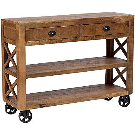 Porter Designs SBA 5398 Barn Door Solid Mango Wood Rolling Console Trolley One Size Brown