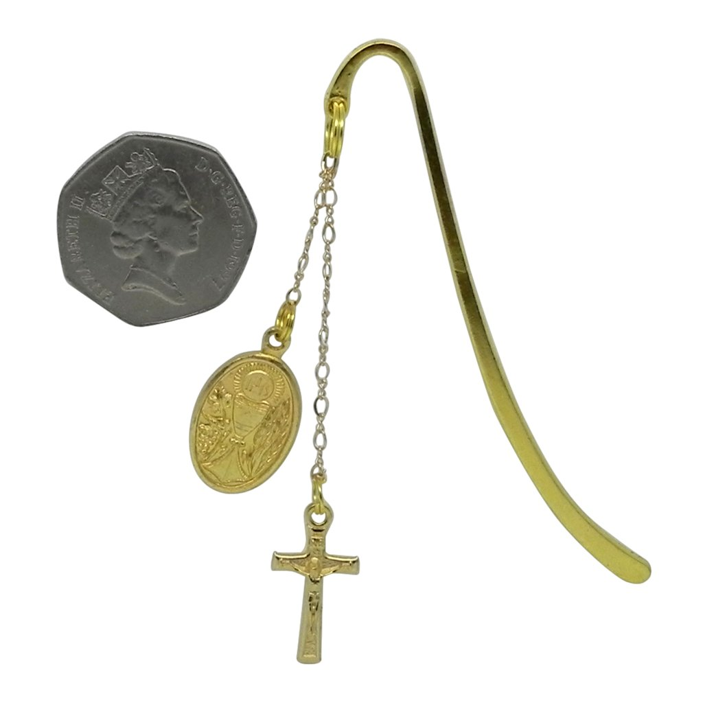 Mass Book Boys First Communion Gift Set Bookmark with First Communion Chalice Medal and Crucifix and Gold Foil Gift Envelope