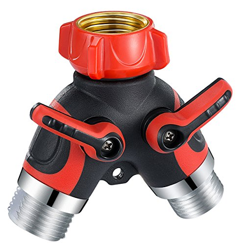 VicTsing 2 Way Y Hose Connector Splitter, Garden Hose Splitter Metal Body with Smooth Rubberized Grip (4 Free Washers, Red)